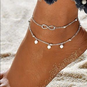 SILVER LAYERED PEARL BEADED INFINITY ANKLET